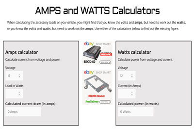 Amps and Watts calculator