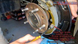 Install front brake shoe landcruiser 200