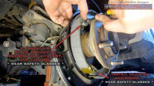 Install handbrake shoe