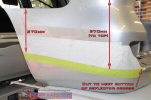 Mark and cut rear bumper