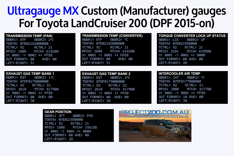 Ultragauge MX Custom codes for Landcruiser 200